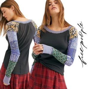 Free People NWT Bright Side Thermal Patchwork Top